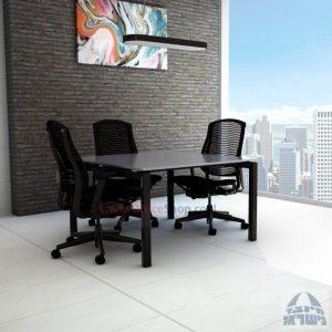 שולחן ישיבות מרובע דגם Sapir Glass רגל שחורה זכוכית אפורה
