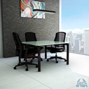 שולחן ישיבות מרובע דגם Sapir Glass רגל שחורה זכוכית לבנה