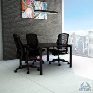 שולחן ישיבות מרובע דגם Sapir Glass רגל שחורה זכוכית שחורה