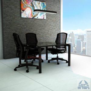 שולחן ישיבות מרובע דגם Sapir Glass רגל שחורה זכוכית שקופה