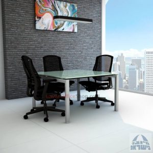 שולחן ישיבות מרובע דגם Sapir Glass רגל כסף זכוכית לבנה