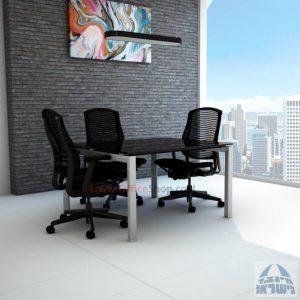 שולחן ישיבות מרובע דגם Sapir Glass רגל כסף זכוכית שחורה