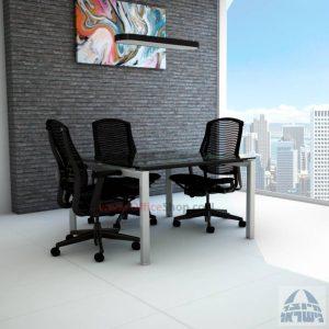 שולחן ישיבות מרובע דגם Sapir Glass רגל כסף זכוכית שקופה