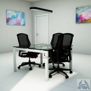 שולחן ישיבות זכוכית מרובע ויוקרתי דגם  Sapir Glass  בהתאמה אישית