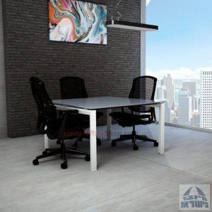 שולחן ישיבות מרובע דגם Sapir Glass רגל לבנה זכוכית אפורה