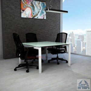 שולחן ישיבות מרובע דגם Sapir Glass רגל לבנה זכוכית לבנה