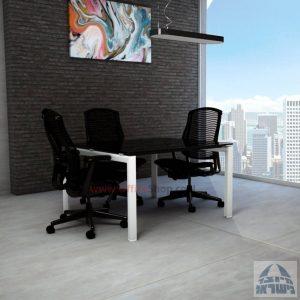 שולחן ישיבות מרובע דגם Sapir Glass רגל לבנה זכוכית שחורה