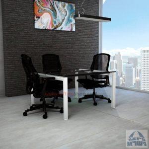 שולחן ישיבות מרובע דגם Sapir Glass רגל לבנה זכוכית שקופה