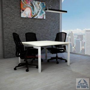 שולחן ישיבות מרובע דגם Sapir רגל לבנה
