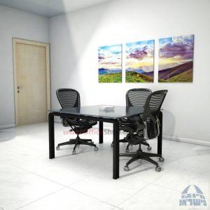 שולחן ישיבות מרובע דגם Moro Glass רגל שחורה זכוכית אפורה