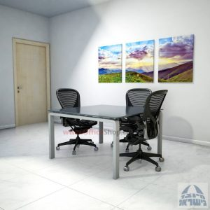 שולחן ישיבות מרובע דגם Moro Glass רגל כסף זכוכית אפורה