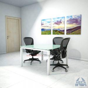 שולחן ישיבות מרובע דגם Moro Glass רגל לבנה זכוכית לבנה