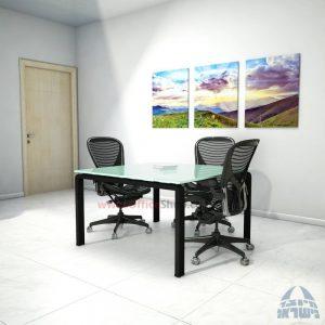 שולחן ישיבות מרובע דגם Moro Glass רגל שחורה זכוכית לבנה