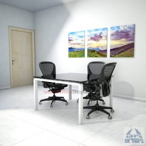 שולחן ישיבות מרובע דגם Moro Glass רגל לבנה זכוכית שחורה