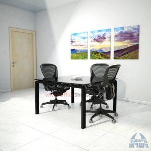 שולחן ישיבות מרובע דגם Moro Glass רגל שחורה זכוכית שחורה