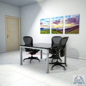 שולחן ישיבות מרובע דגם Moro Glass רגל כסף זכוכית שחורה