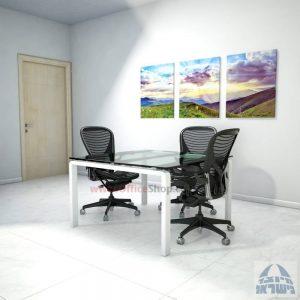 שולחן ישיבות מרובע דגם Moro Glass רגל לבנה זכוכית שקופה