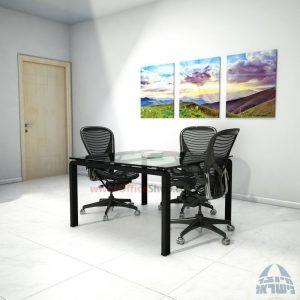 שולחן ישיבות מרובע דגם Moro Glass רגל שחורה זכוכית שקופה