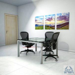 שולחן ישיבות מרובע דגם Moro Glass רגל כסף זכוכית שקופה
