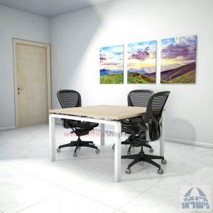 שולחן ישיבות מרובע דגם Moro רגל לבנה