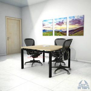 שולחן ישיבות מרובע דגם Moro רגל שחורה