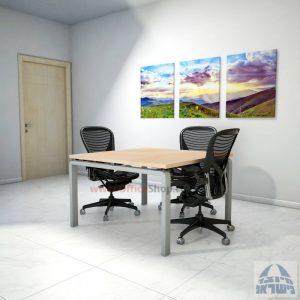 שולחן ישיבות מרובע דגם Moro רגל כסופה