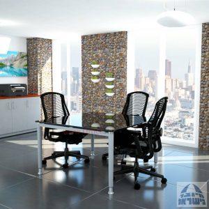 שולחן ישיבות זכוכית מרובע דגם Tomer Glass רגל כסף זכוכית שחורה