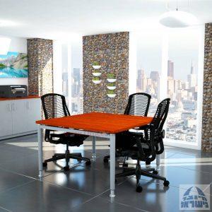 שולחן ישיבות מרובע דגם Tomer רגל כסופה