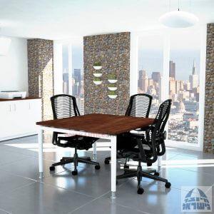 שולחן ישיבות מרובע דגם Tomer רגל לבנה