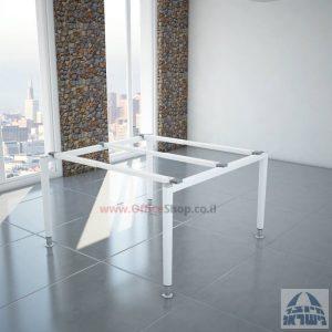 רגלי מתכת טלסקופיותלשולחן ישיבות משרדי Tomer בצבע לבן