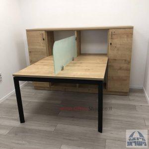 שולחן כתיבה זוגי מעוצב דגם Sapir רגל כסופה כולל מחיצת זכוכית