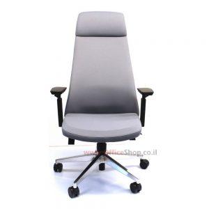 כסא מנהלים יוקרתי דגם ALON גבוה בריפוד בד אפור
