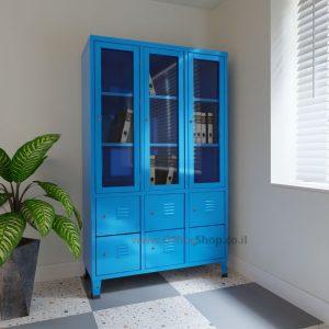 ארון לוקר ויטרינה מתכת 3 דלתות זכוכית + 6 דלתות אטומות במבחר צבעי אפוקסי