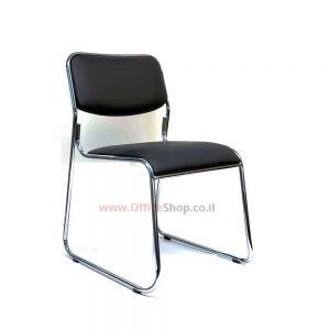 כסא אורח דגם PARTI – כסא עם גב ומושב מרופדים PU שחור